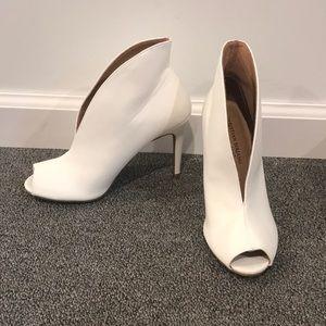 White Peep-Toe Hooties (Heeled-Booties)